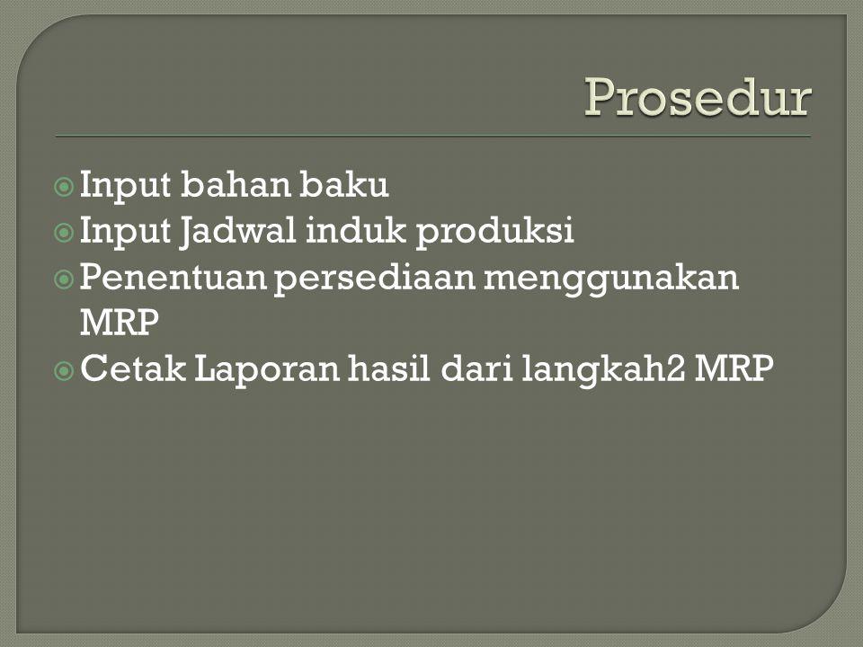  Input bahan baku  Input Jadwal induk produksi  Penentuan persediaan menggunakan MRP  Cetak Laporan hasil dari langkah2 MRP