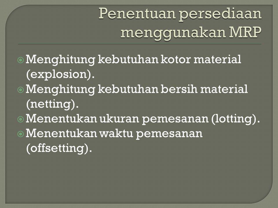  Menghitung kebutuhan kotor material (explosion).  Menghitung kebutuhan bersih material (netting).  Menentukan ukuran pemesanan (lotting).  Menent