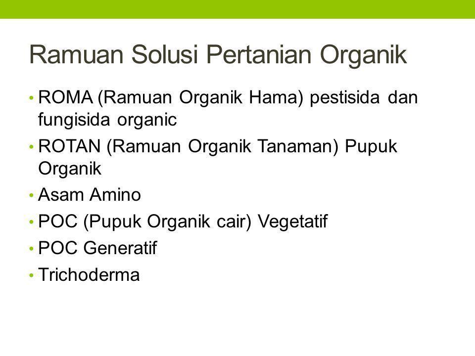 Ramuan Solusi Pertanian Organik ROMA (Ramuan Organik Hama) pestisida dan fungisida organic ROTAN (Ramuan Organik Tanaman) Pupuk Organik Asam Amino POC