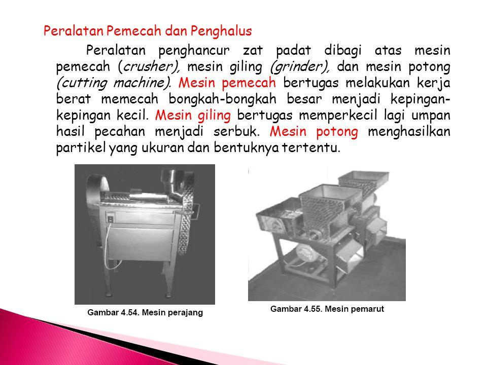 Peralatan Pemecah dan Penghalus Peralatan penghancur zat padat dibagi atas mesin pemecah (crusher), mesin giling (grinder), dan mesin potong (cutting
