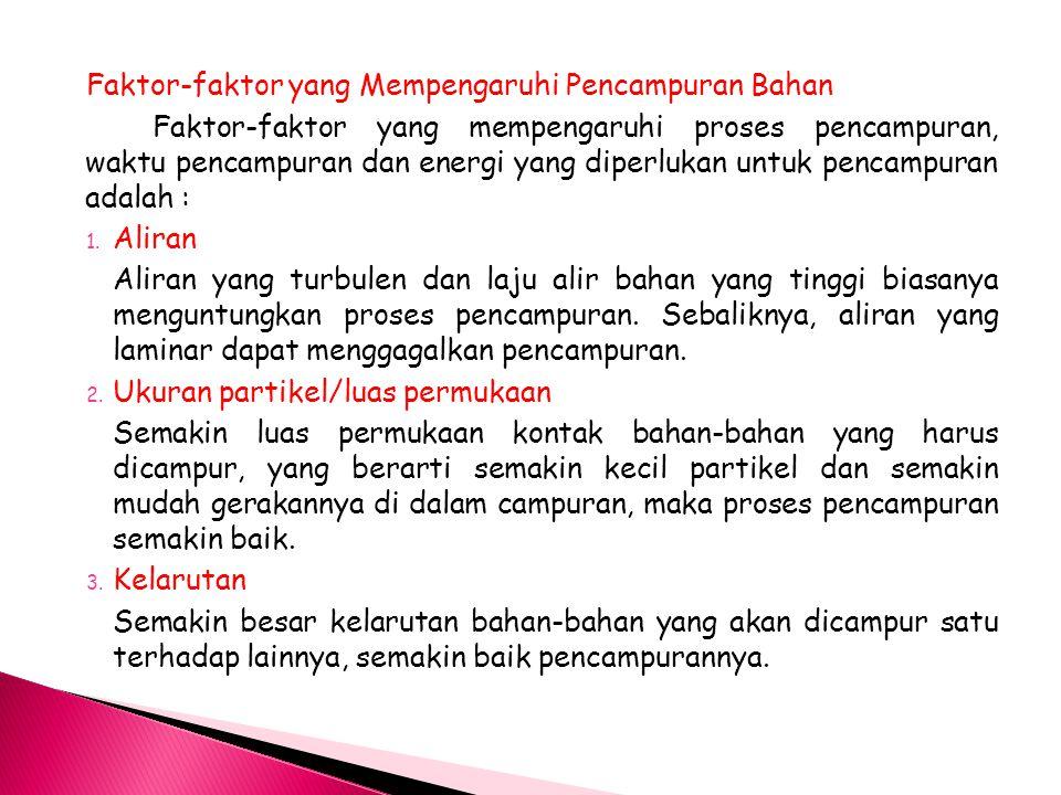 Faktor-faktor yang Mempengaruhi Pencampuran Bahan Faktor-faktor yang mempengaruhi proses pencampuran, waktu pencampuran dan energi yang diperlukan unt
