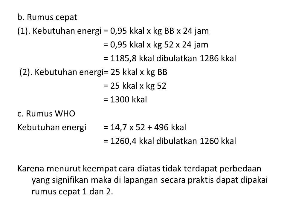 b. Rumus cepat (1). Kebutuhan energi= 0,95 kkal x kg BB x 24 jam = 0,95 kkal x kg 52 x 24 jam = 1185,8 kkal dibulatkan 1286 kkal (2). Kebutuhan energi
