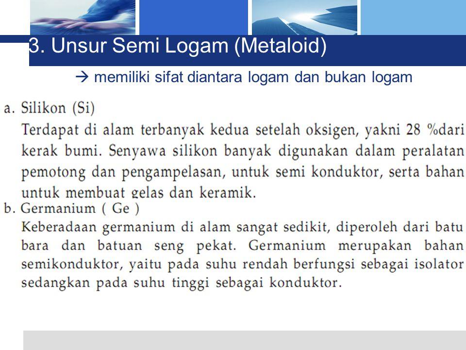 L o g o 3. Unsur Semi Logam (Metaloid)  memiliki sifat diantara logam dan bukan logam