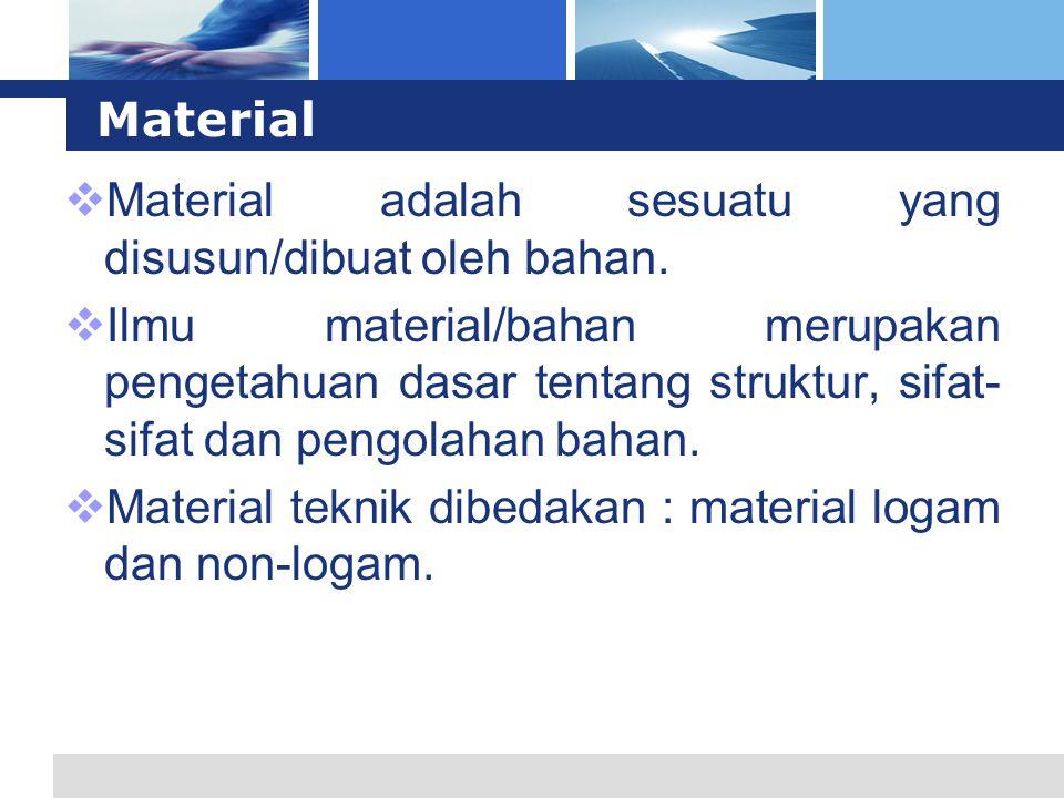Material  Material adalah sesuatu yang disusun/dibuat oleh bahan.  Ilmu material/bahan merupakan pengetahuan dasar tentang struktur, sifat- sifat da