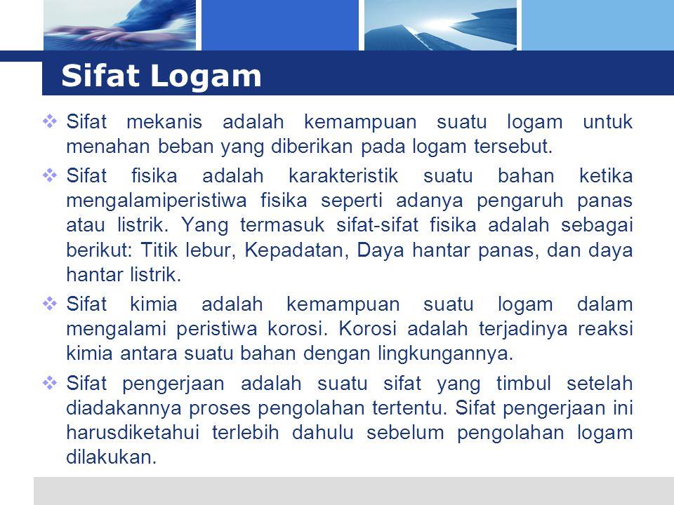 L o g o Sifat Logam  Sifat mekanis adalah kemampuan suatu logam untuk menahan beban yang diberikan pada logam tersebut.  Sifat fisika adalah karakte