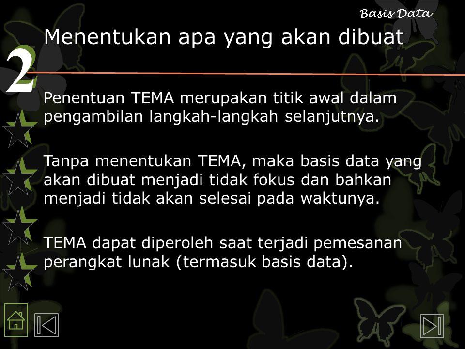 2 2 Basis Data Menentukan apa yang akan dibuat Penentuan TEMA merupakan titik awal dalam pengambilan langkah-langkah selanjutnya.