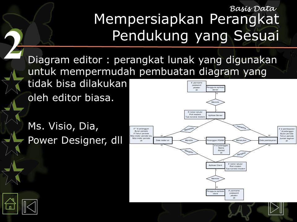 2 2 Basis Data Mempersiapkan Perangkat Pendukung yang Sesuai Diagram editor : perangkat lunak yang digunakan untuk mempermudah pembuatan diagram yang