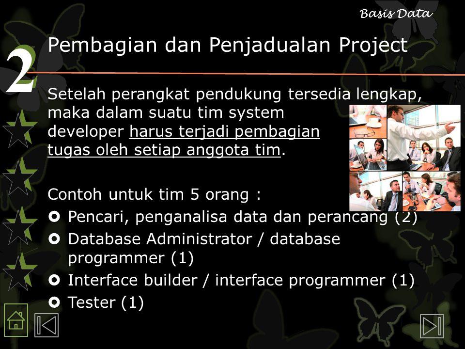 2 2 Basis Data Pembagian dan Penjadualan Project Setelah perangkat pendukung tersedia lengkap, maka dalam suatu tim system developer harus terjadi pembagian tugas oleh setiap anggota tim.