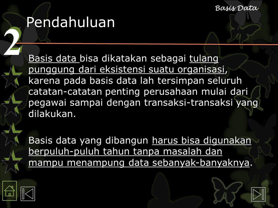 2 2 Basis Data Pendahuluan Basis data bisa dikatakan sebagai tulang punggung dari eksistensi suatu organisasi, karena pada basis data lah tersimpan se