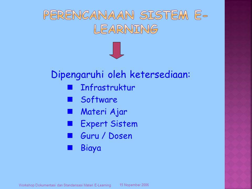 15 Nopember 2006 Workshop Dokumentasi dan Standarisasi Materi E-Learning Dipengaruhi oleh ketersediaan: Infrastruktur Software Materi Ajar Expert Sistem Guru / Dosen Biaya