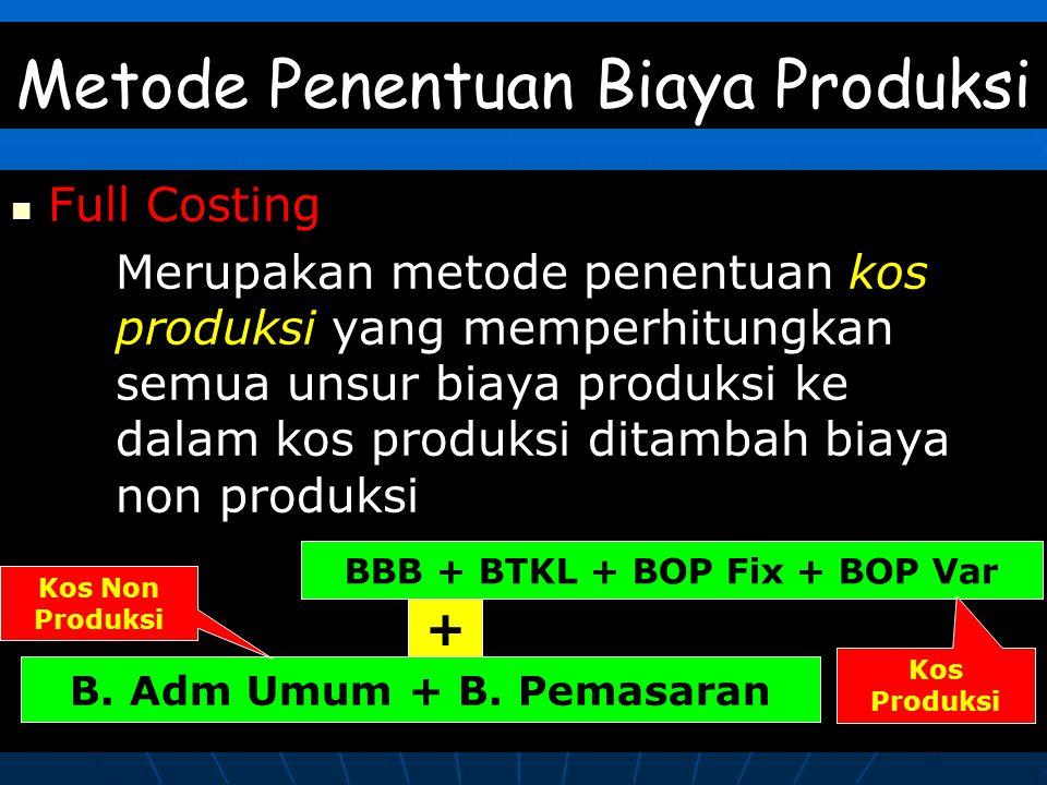 Metode Penentuan Biaya Produksi Full Costing Merupakan metode penentuan kos produksi yang memperhitungkan semua unsur biaya produksi ke dalam kos produksi ditambah biaya non produksi BBB + BTKL + BOP Fix + BOP Var Kos Produksi B.