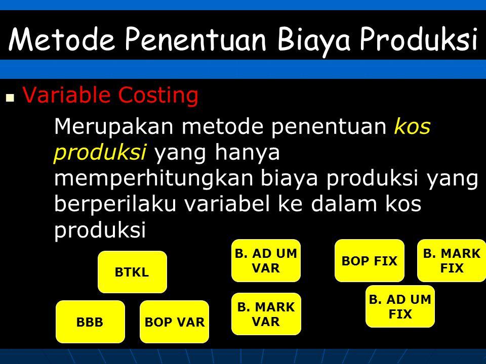 Metode Penentuan Biaya Produksi Variable Costing Merupakan metode penentuan kos produksi yang hanya memperhitungkan biaya produksi yang berperilaku variabel ke dalam kos produksi BBB BTKL BOP VAR B.
