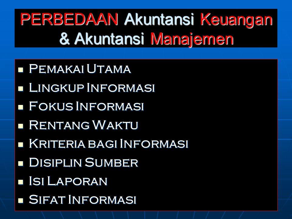 PERBEDAAN Akuntansi Keuangan & Akuntansi Manajemen Pemakai Utama Pemakai Utama Lingkup Informasi Lingkup Informasi Fokus Informasi Fokus Informasi Rentang Waktu Rentang Waktu Kriteria bagi Informasi Kriteria bagi Informasi Disiplin Sumber Disiplin Sumber Isi Laporan Isi Laporan Sifat Informasi Sifat Informasi