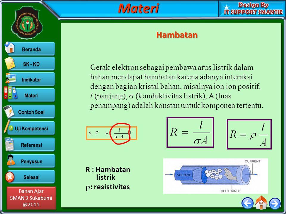 Bahan Ajar SMAN 3 Sukabumi @2011 Bahan Ajar SMAN 3 Sukabumi @2011MateriHambatan Gerak elektron sebagai pembawa arus listrik dalam bahan mendapat hamba