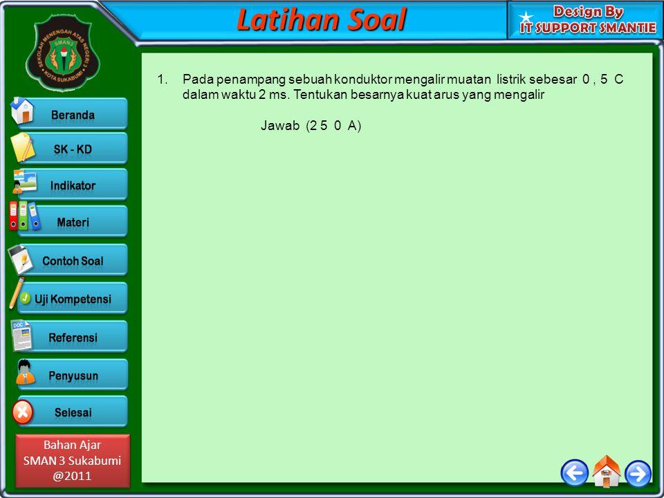 Bahan Ajar SMAN 3 Sukabumi @2011 Bahan Ajar SMAN 3 Sukabumi @2011 1.Pada penampang sebuah konduktor mengalir muatan listrik sebesar 0, 5 C dalam waktu