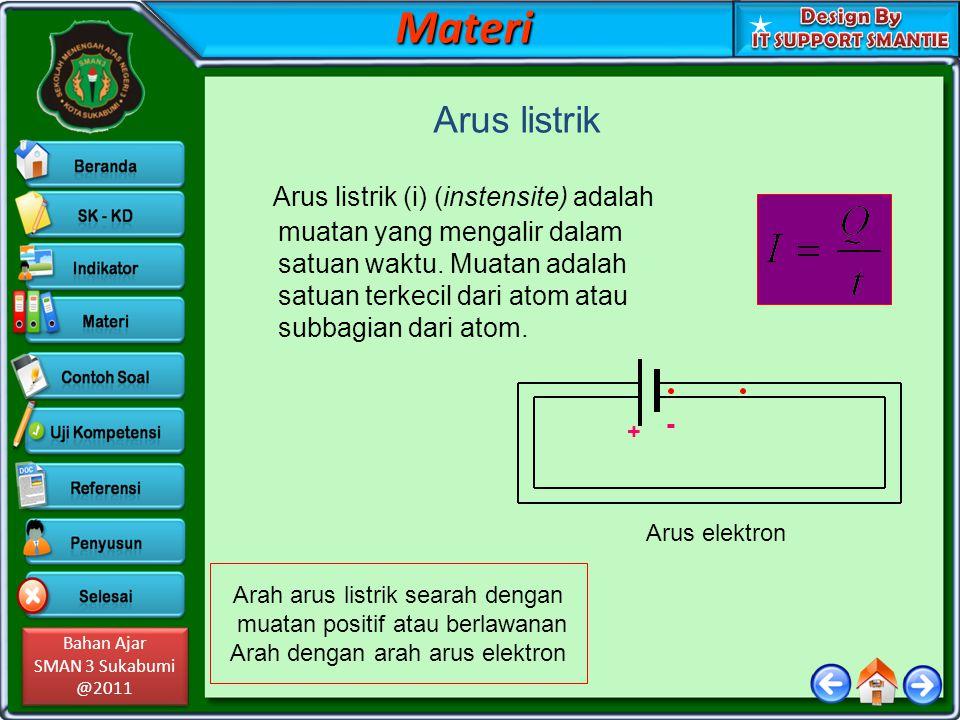 Bahan Ajar SMAN 3 Sukabumi @2011 Bahan Ajar SMAN 3 Sukabumi @2011Materi Arus listrik Arus listrik (i) (instensite) adalah muatan yang mengalir dalam s