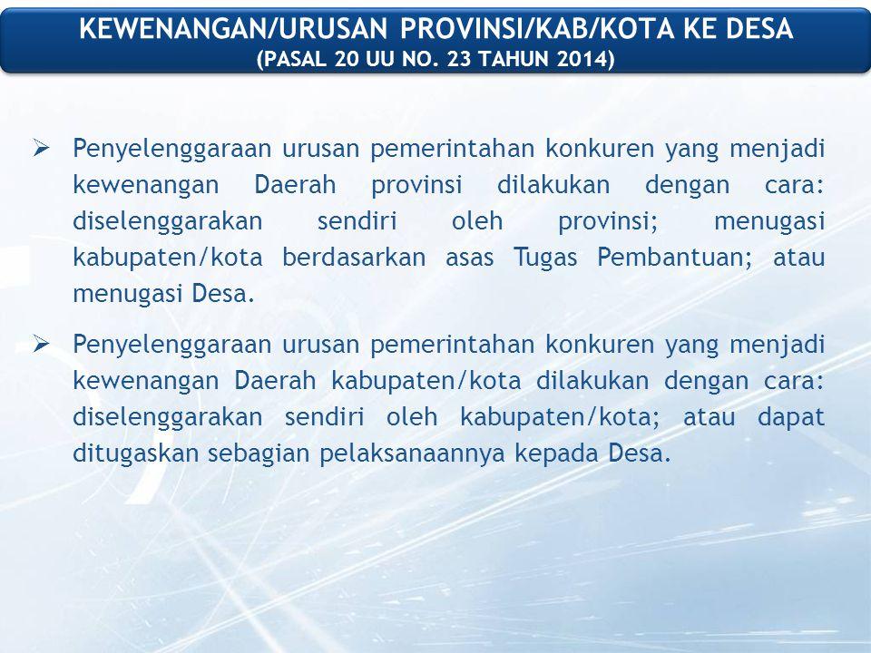 KEWENANGAN/URUSAN PROVINSI/KAB/KOTA KE DESA (PASAL 20 UU NO.
