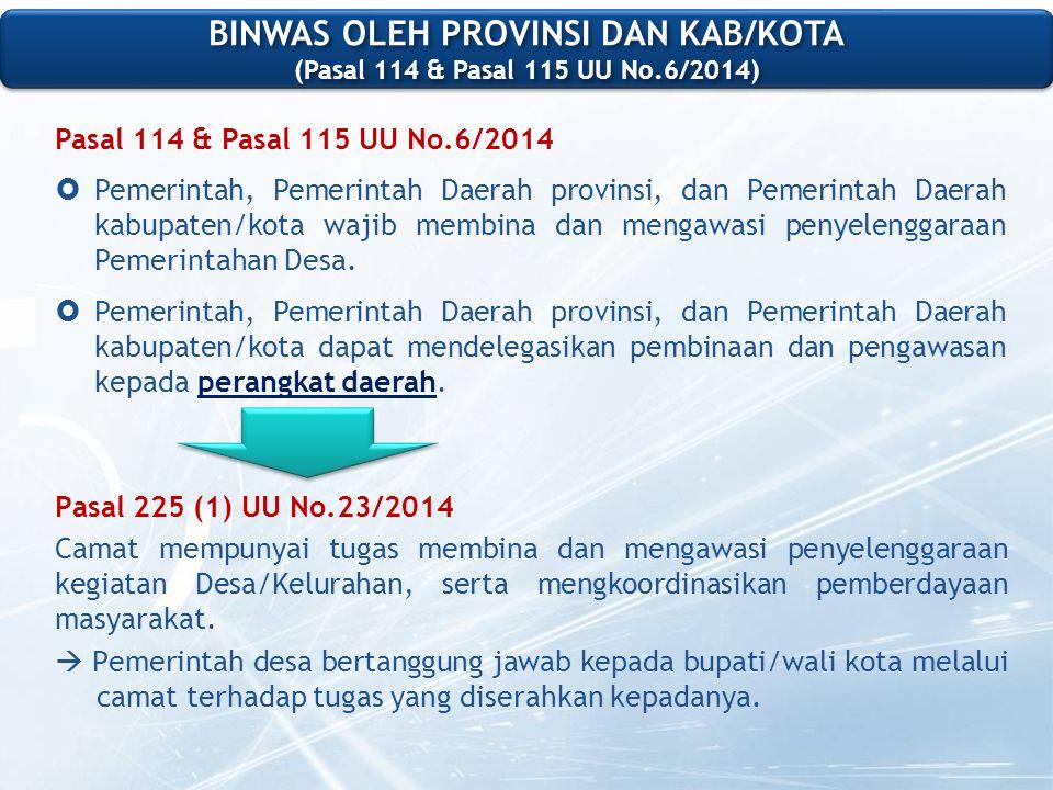 Pasal 114 & Pasal 115 UU No.6/2014  Pemerintah, Pemerintah Daerah provinsi, dan Pemerintah Daerah kabupaten/kota wajib membina dan mengawasi penyelenggaraan Pemerintahan Desa.