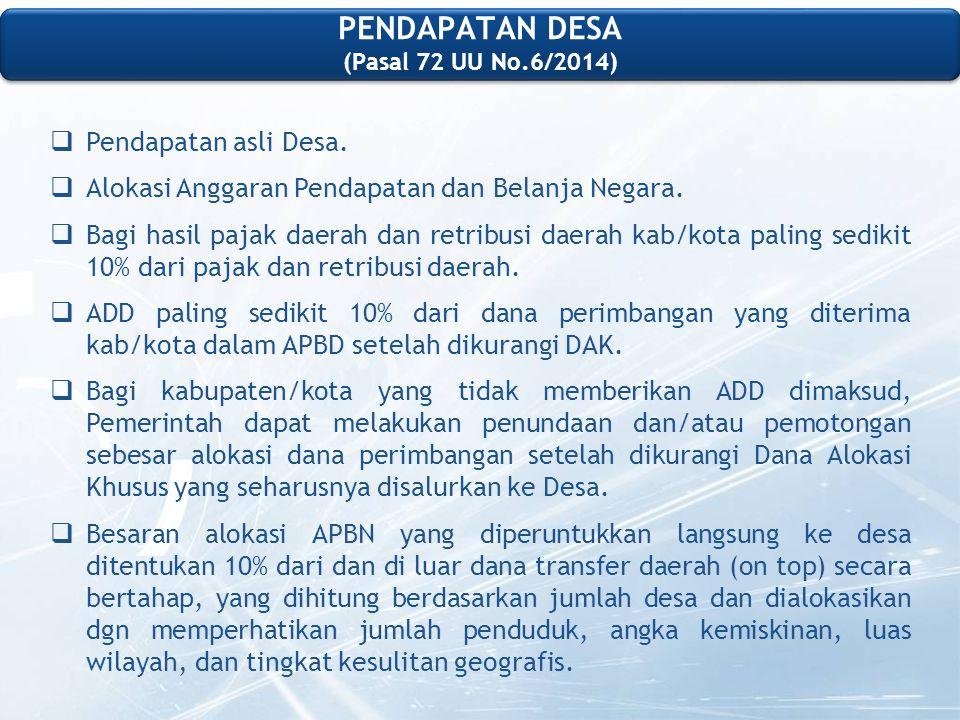 PENDAPATAN DESA (Pasal 72 UU No.6/2014)  Pendapatan asli Desa.