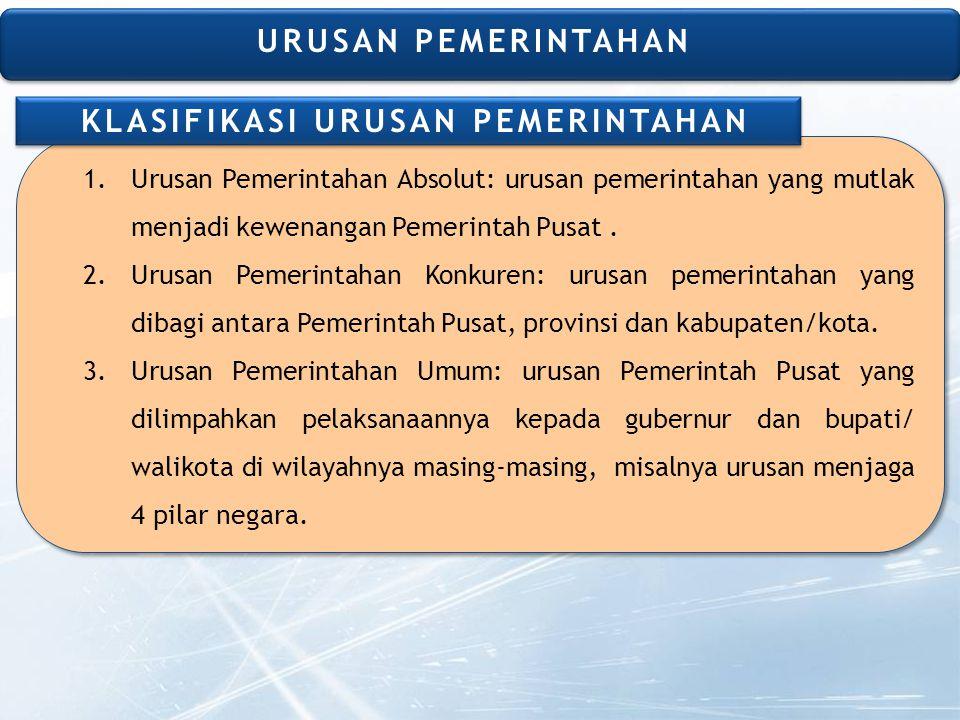 1.Urusan Pemerintahan Absolut: urusan pemerintahan yang mutlak menjadi kewenangan Pemerintah Pusat.