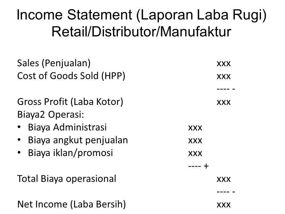 Income Statement (Laporan Laba Rugi) Retail/Distributor/Manufaktur Sales (Penjualan) xxx Cost of Goods Sold (HPP)xxx ---- - Gross Profit (Laba Kotor)x