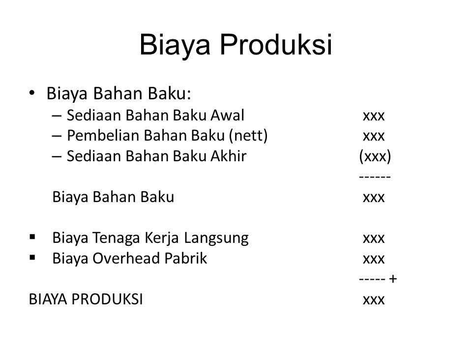 Biaya Produksi Biaya Bahan Baku: – Sediaan Bahan Baku Awal xxx – Pembelian Bahan Baku (nett) xxx – Sediaan Bahan Baku Akhir (xxx) ------ Biaya Bahan B