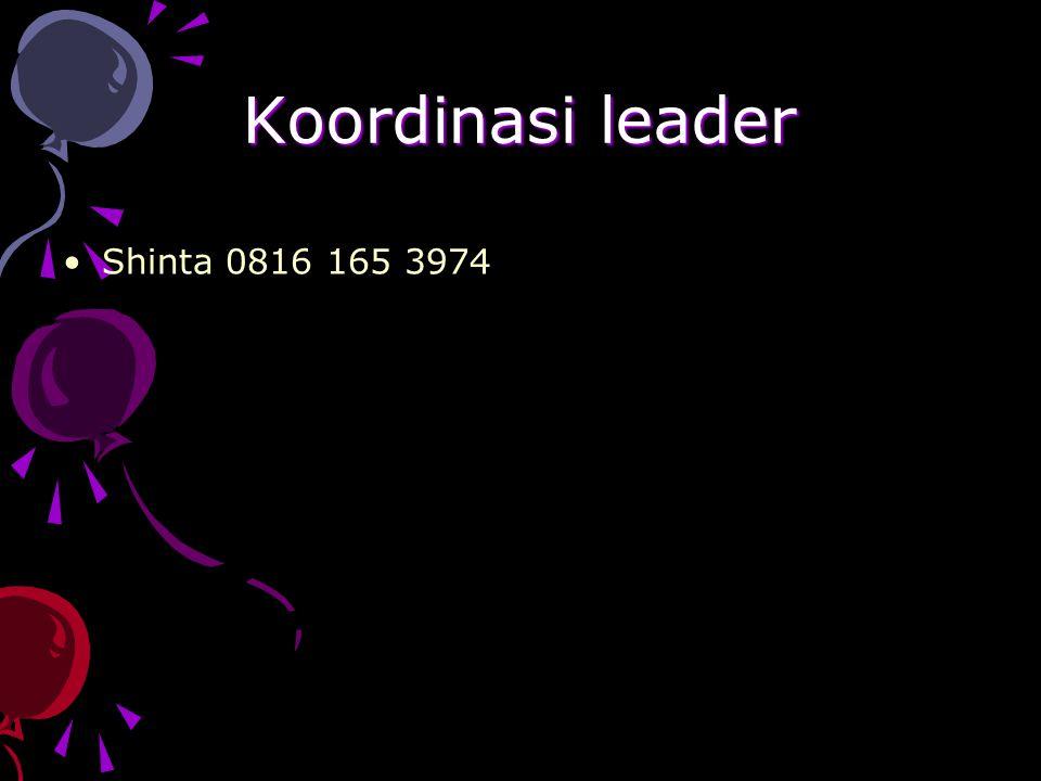 Koordinasi leader Shinta 0816 165 3974