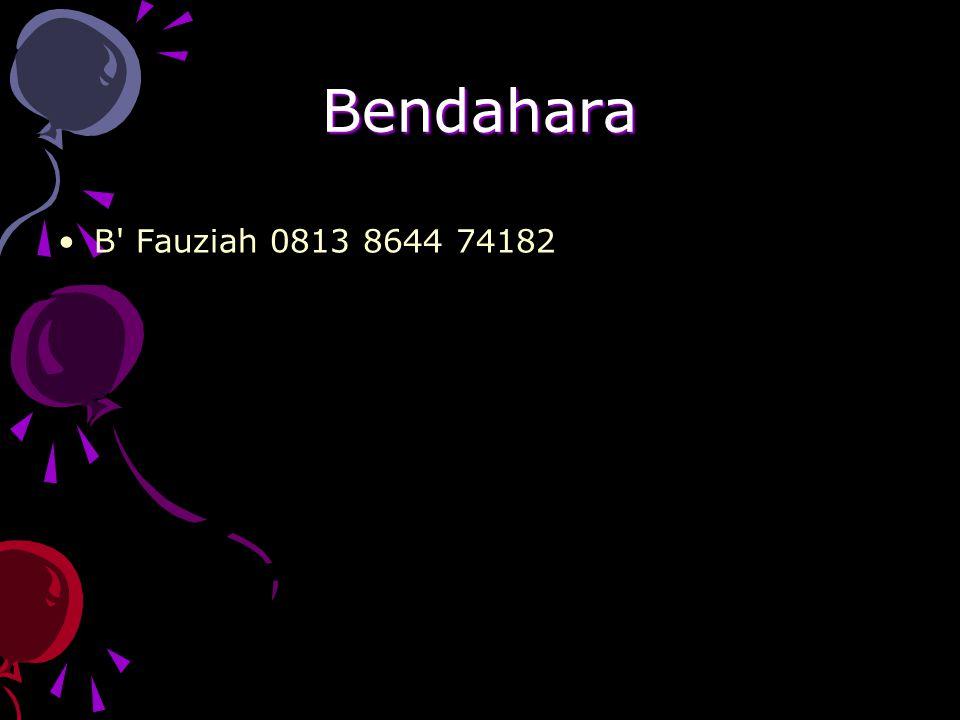 Bendahara B Fauziah 0813 8644 74182