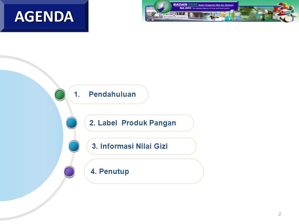 4. Penutup 2. Label Produk Pangan 1.PendahuluanAGENDAAGENDA 3. Informasi Nilai Gizi 2