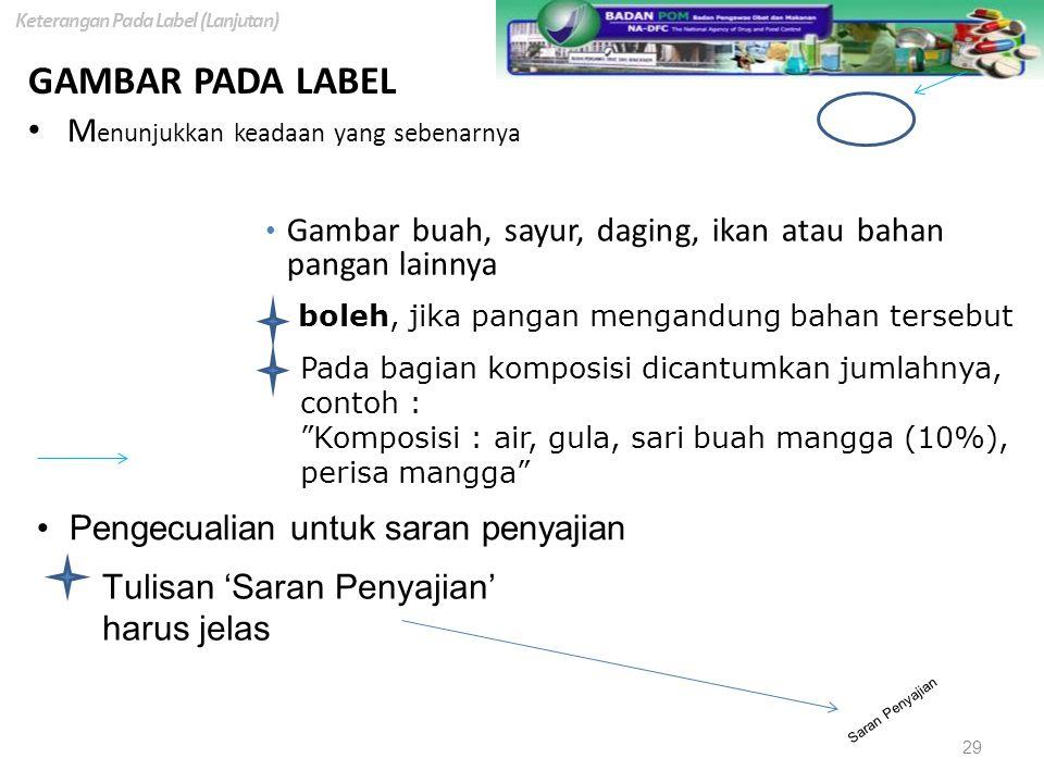GAMBAR PADA LABEL M enunjukkan keadaan yang sebenarnya boleh, jika pangan mengandung bahan tersebut Pada bagian komposisi dicantumkan jumlahnya, conto