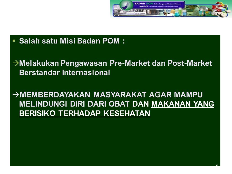  Salah satu Misi Badan POM :  Melakukan Pengawasan Pre-Market dan Post-Market Berstandar Internasional  MEMBERDAYAKAN MASYARAKAT AGAR MAMPU MELINDU