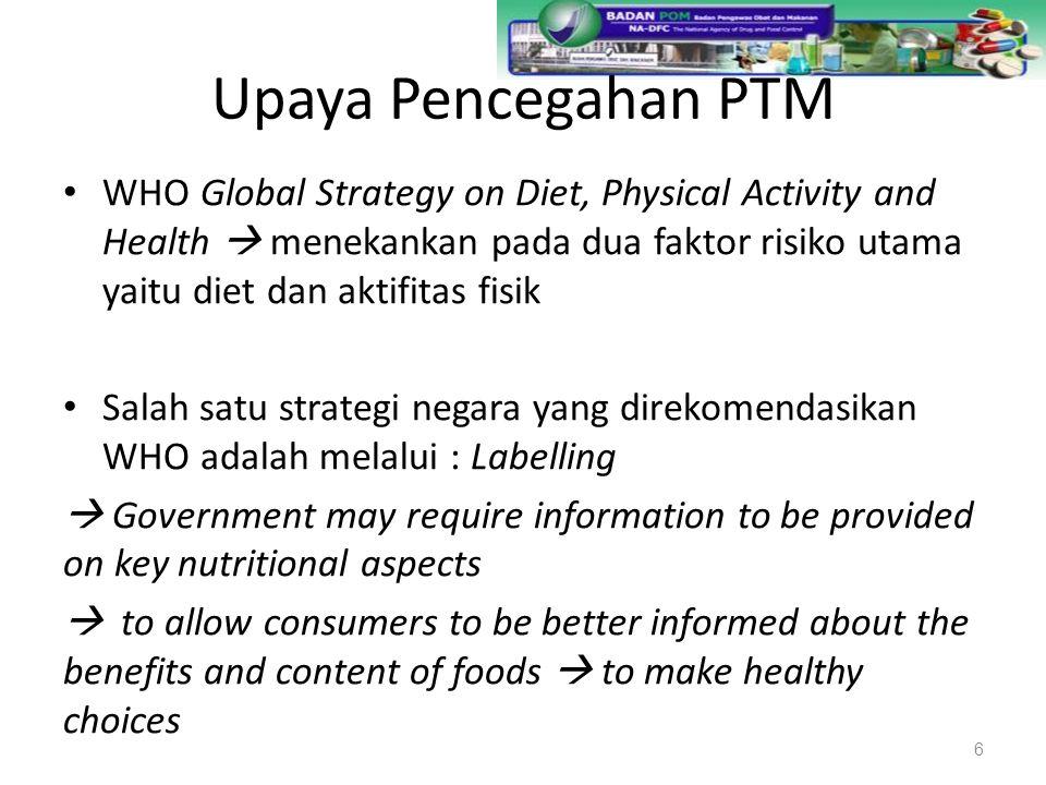 Upaya Pencegahan PTM Dalam Dokumen WHO Global Strategy on Diet, Physical Activity and Health juga ditekankan : Tren penggunaan pesan terkait kesehatan oleh produsen semakin meningkat, sehingga memberikan konsekuensi penting bagi regulator untuk menjamin bahwa pesan-pesan tersebut benar dan tidak menyesatkan konsumen 7