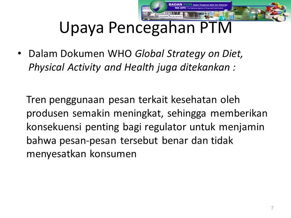 Upaya Pencegahan PTM Dalam Dokumen WHO Global Strategy on Diet, Physical Activity and Health juga ditekankan : Tren penggunaan pesan terkait kesehatan