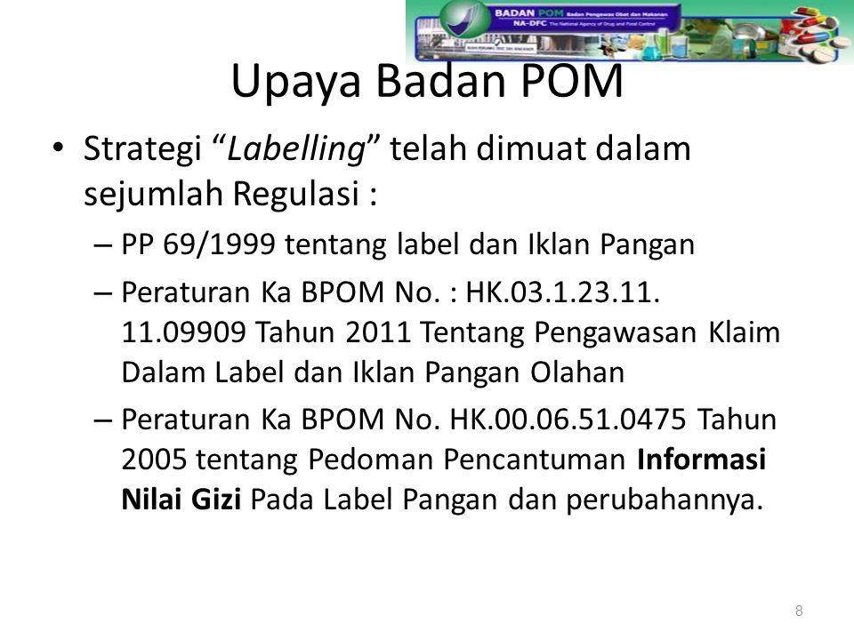 """Upaya Badan POM Strategi """"Labelling"""" telah dimuat dalam sejumlah Regulasi : – PP 69/1999 tentang label dan Iklan Pangan – Peraturan Ka BPOM No. : HK.0"""