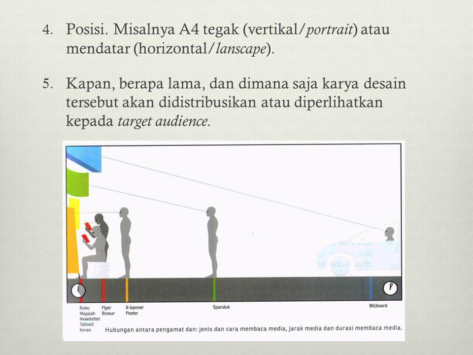 4. Posisi. Misalnya A4 tegak (vertikal/ portrait ) atau mendatar (horizontal/ lanscape ). 5. Kapan, berapa lama, dan dimana saja karya desain tersebut