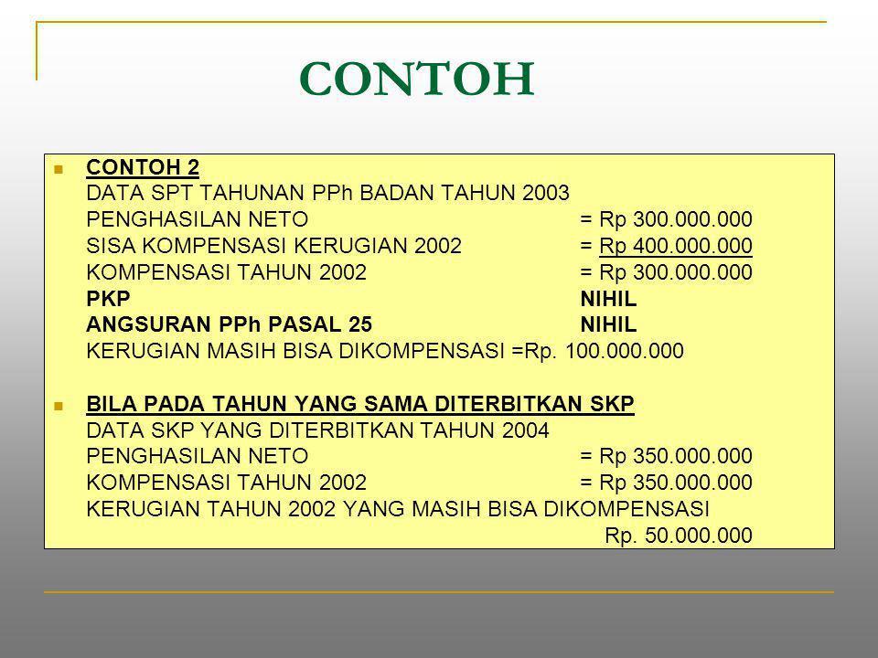 CONTOH CONTOH 2 DATA SPT TAHUNAN PPh BADAN TAHUN 2003 PENGHASILAN NETO = Rp 300.000.000 SISA KOMPENSASI KERUGIAN 2002 = Rp 400.000.000 KOMPENSASI TAHUN 2002 = Rp 300.000.000 PKPNIHIL ANGSURAN PPh PASAL 25NIHIL KERUGIAN MASIH BISA DIKOMPENSASI =Rp.