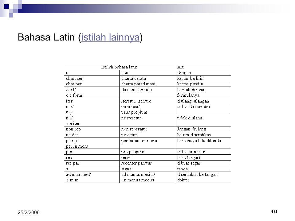 10 25/2/2009 Bahasa Latin (istilah lainnya)istilah lainnya