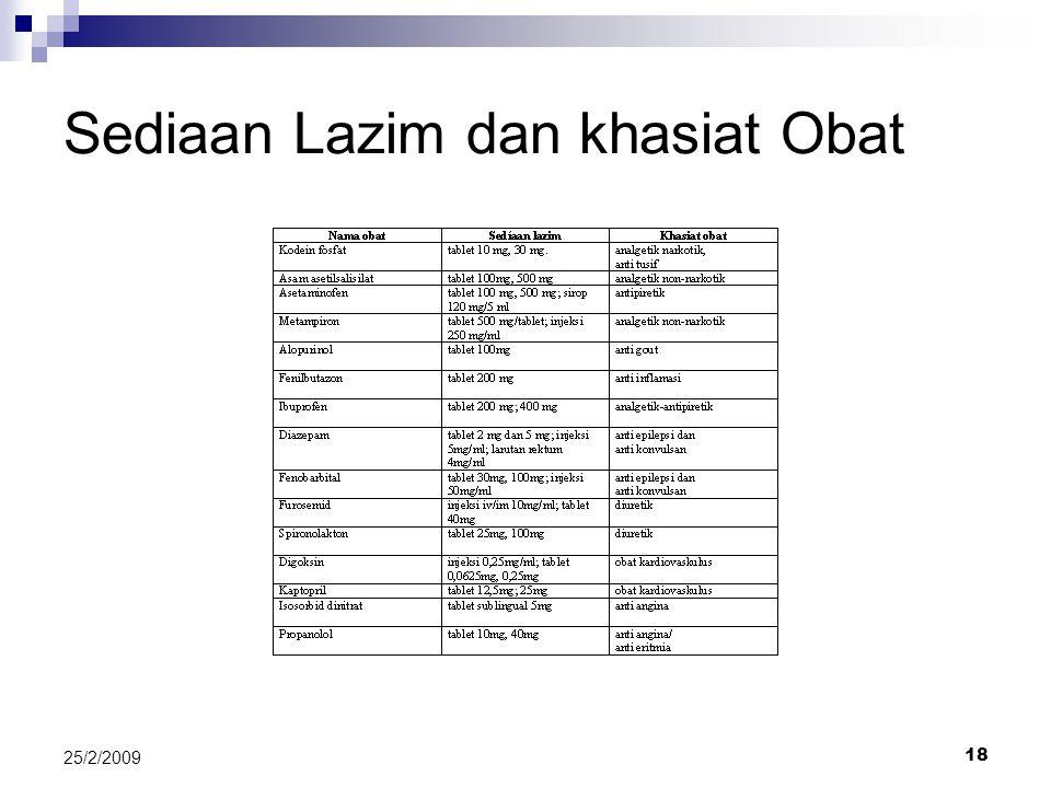 18 25/2/2009 Sediaan Lazim dan khasiat Obat