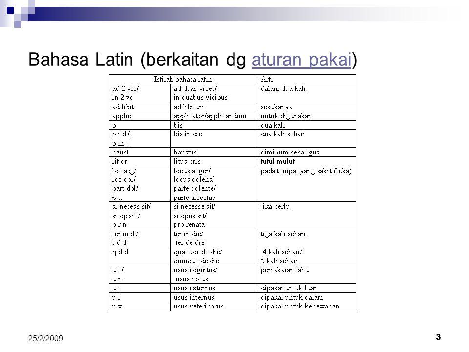 3 25/2/2009 Bahasa Latin (berkaitan dg aturan pakai)aturan pakai