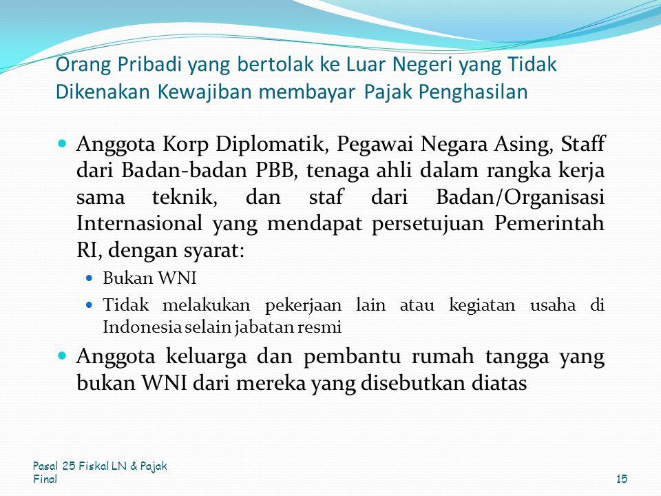Orang Pribadi yang bertolak ke Luar Negeri yang Tidak Dikenakan Kewajiban membayar Pajak Penghasilan Anggota Korp Diplomatik, Pegawai Negara Asing, St