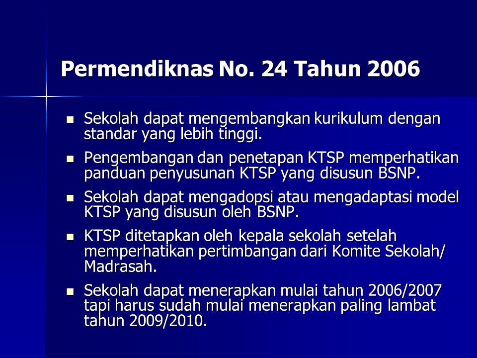 Permendiknas No. 24 Tahun 2006 Sekolah dapat mengembangkan kurikulum dengan standar yang lebih tinggi. Sekolah dapat mengembangkan kurikulum dengan st