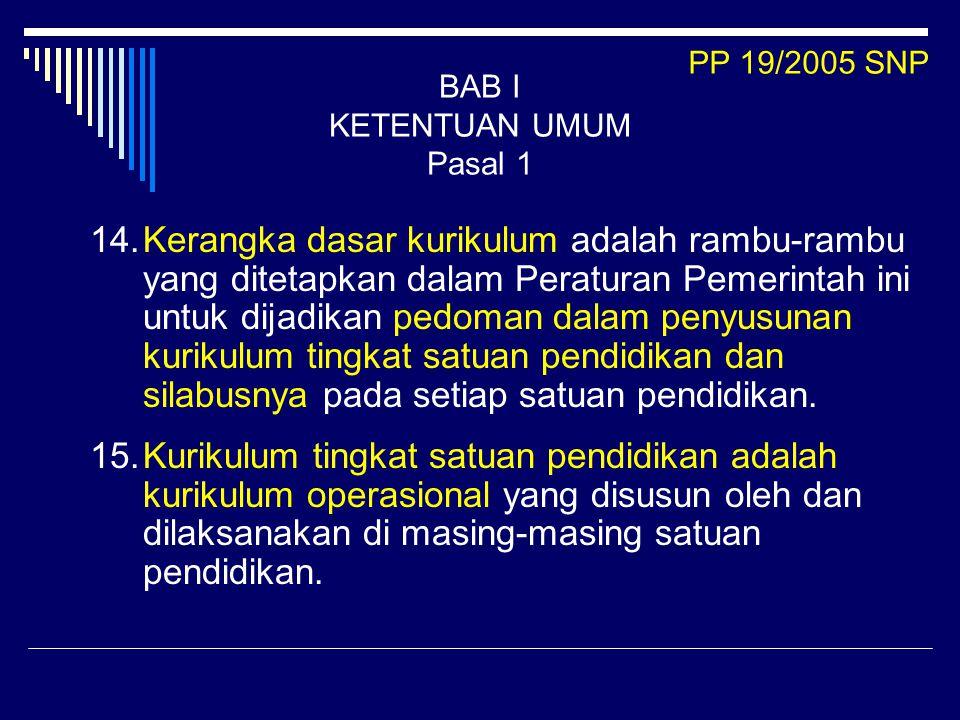 14.Kerangka dasar kurikulum adalah rambu-rambu yang ditetapkan dalam Peraturan Pemerintah ini untuk dijadikan pedoman dalam penyusunan kurikulum tingk