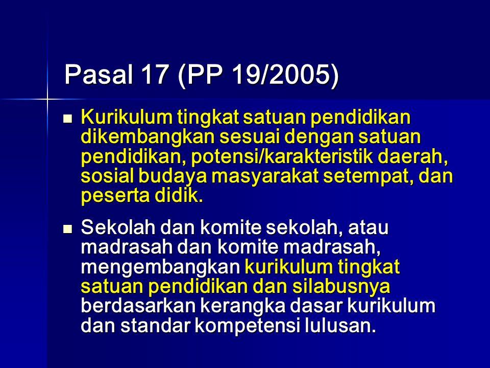 Pasal 17 (PP 19/2005) Kurikulum tingkat satuan pendidikan dikembangkan sesuai dengan satuan pendidikan, potensi/karakteristik daerah, sosial budaya masyarakat setempat, dan peserta didik.