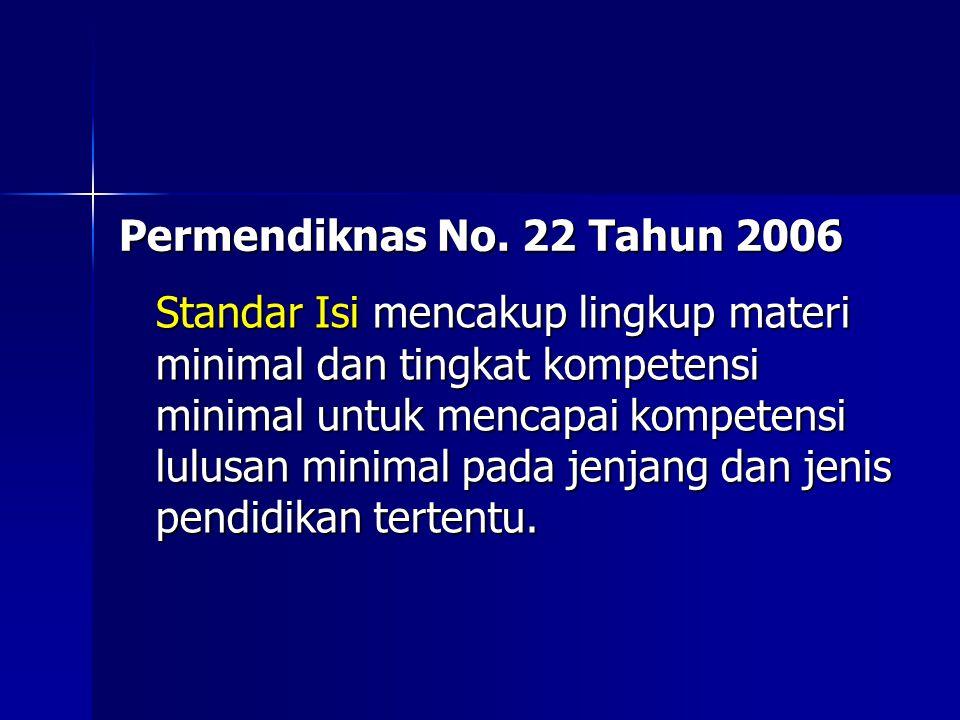 Permendiknas No. 22 Tahun 2006 Standar Isi mencakup lingkup materi minimal dan tingkat kompetensi minimal untuk mencapai kompetensi lulusan minimal pa