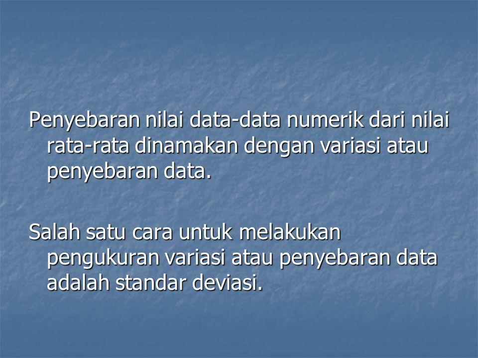 Penyebaran nilai data-data numerik dari nilai rata-rata dinamakan dengan variasi atau penyebaran data. Salah satu cara untuk melakukan pengukuran vari