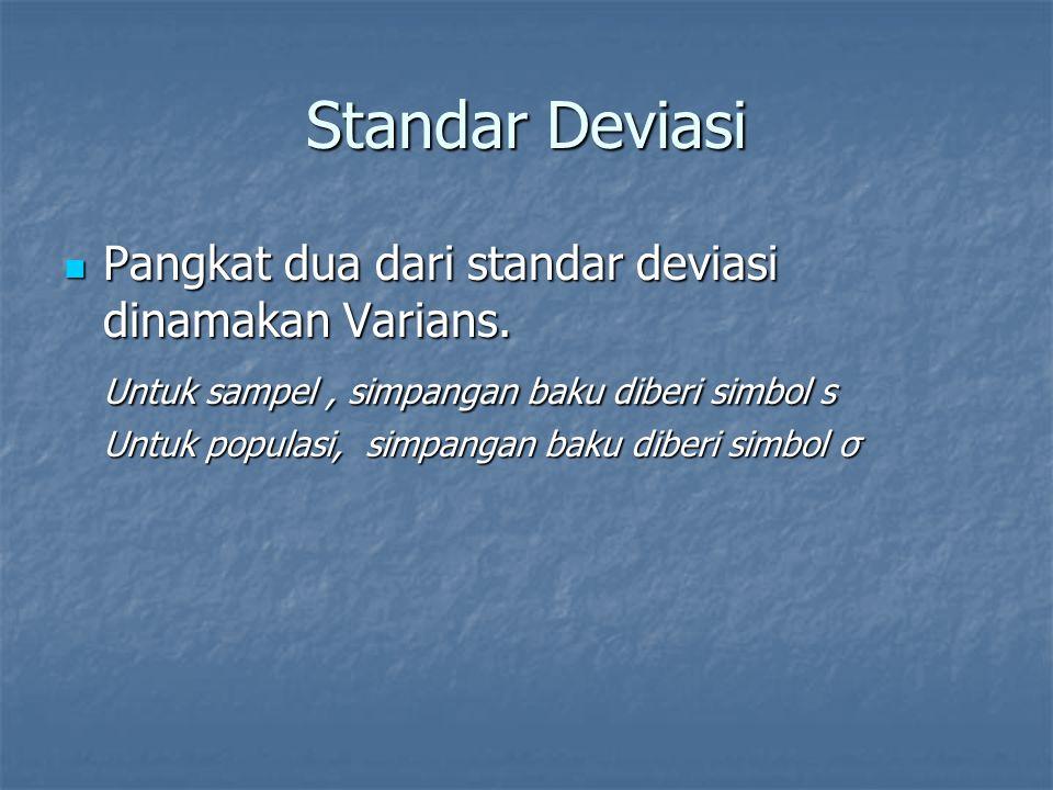 Standar Deviasi Pangkat dua dari standar deviasi dinamakan Varians. Pangkat dua dari standar deviasi dinamakan Varians. Untuk sampel, simpangan baku d