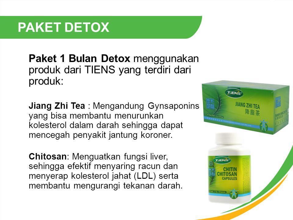 PAKET DETOX Paket 1 Bulan Detox menggunakan produk dari TIENS yang terdiri dari produk: Jiang Zhi Tea : Mengandung Gynsaponins yang bisa membantu menu