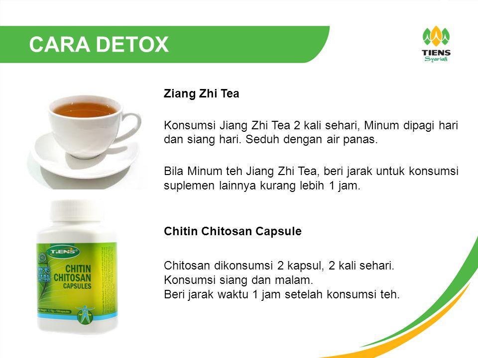 CARA DETOX Ziang Zhi Tea Konsumsi Jiang Zhi Tea 2 kali sehari, Minum dipagi hari dan siang hari. Seduh dengan air panas. Bila Minum teh Jiang Zhi Tea,