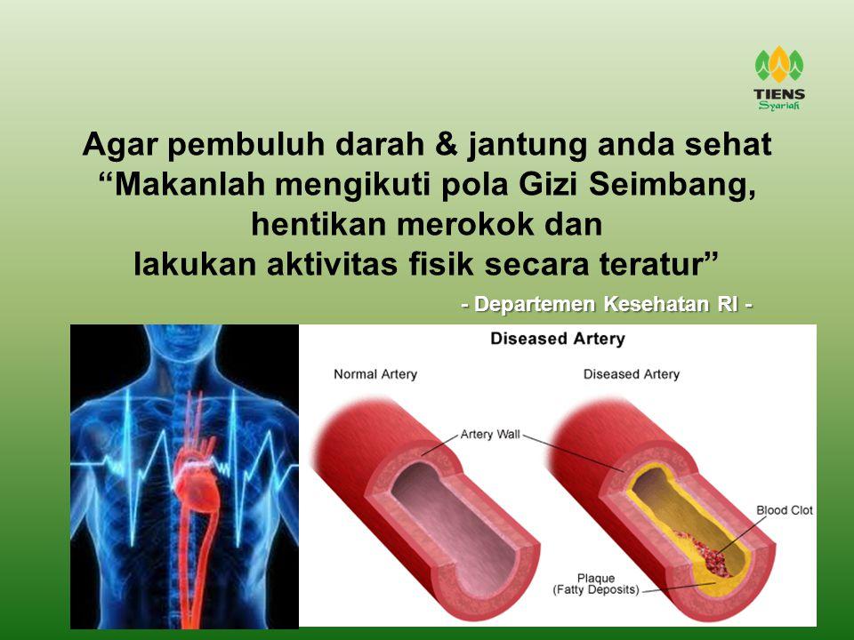"""Agar pembuluh darah & jantung anda sehat """"Makanlah mengikuti pola Gizi Seimbang, hentikan merokok dan lakukan aktivitas fisik secara teratur"""" - Depart"""