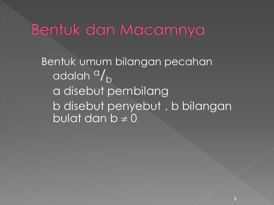 Bentuk umum bilangan pecahan adalah a / b a disebut pembilang b disebut penyebut, b bilangan bulat dan b  0 3